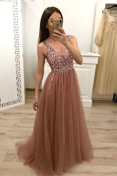 A Line V Neck Tulle Long Beaded Prom Dress, Cheap Evening Gown,Strapless Prom Dress