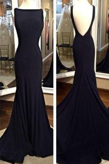 O-Neck Backless Dress,Black Prom Dress Evening Party Gown