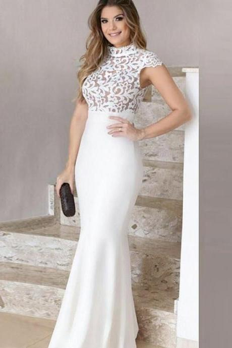Mermaid evening dress, High Neck prom dress ,Cap Sleeves Ivory Stretch Satin Prom Dress with Lace