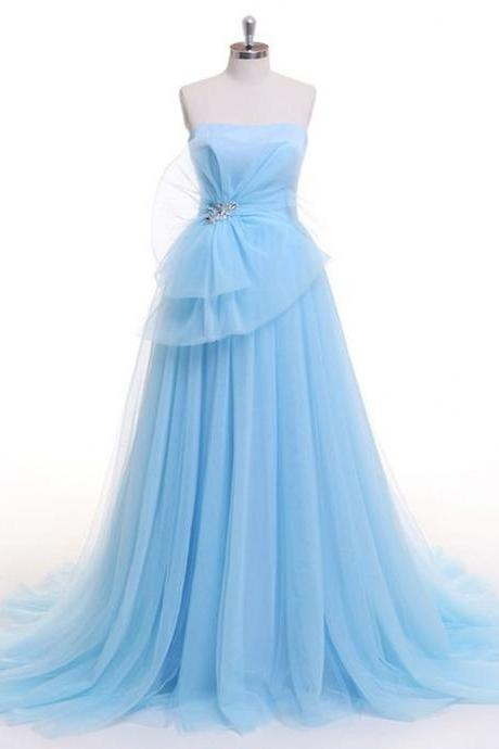 Light Blue Tull Prom dress,Strapless evening dress,Long Beaded Evening Dress, A-line Prom Dress,tulle princess dress,Prom Gowns,A-line evening dress