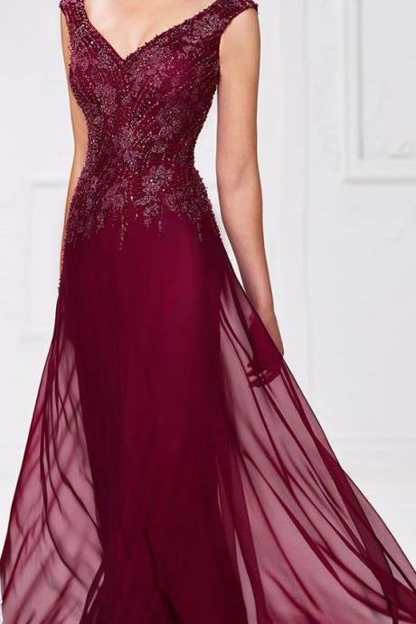Applique Prom Dresses, Burgundy A-line/Princess Evening Dresses, Long Burgundy Prom Dresses, Prom Dresses v-neck Burgundy Tulle Prom Dress/Evening Dress park red