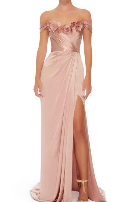 Off The Shoulder Prom Dress, Satin Gown,flowered,high split,Prom Dress ,sexy,evening dress,Prom Gowns,A-line evening dress