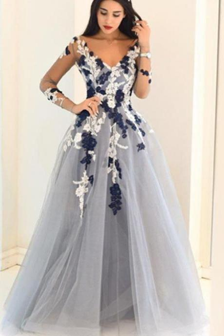 Dusty Blue Appliqued V-neck Ball Gown Prom Dress with Long Sleeves,.long tulle formal prom dress,Appliques prom dress,Prom Gowns,A-line evening dress