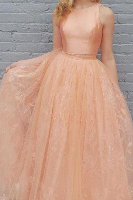 2 Pieces Peach Satin Top Lace Skirt Long Prom Dresses,Appliques prom dress,Prom Gowns,A-line evening dress