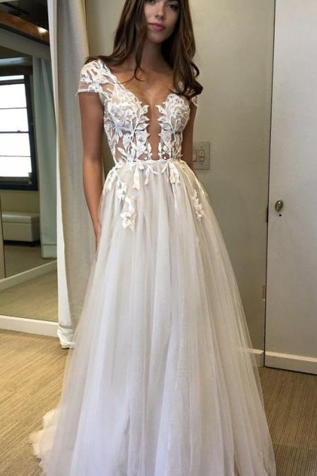 Ivory Appliques Floor-length Tulle Prom Dress,long tulle formal prom dress,Appliques prom dress,Prom Gowns,A-line evening dress