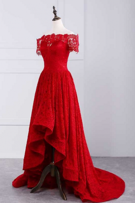 red off shoulder prom dresses,lace prom dresses,red prom dresses,Sexy Formal Evening Dress