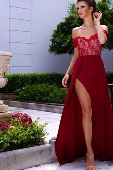 Red Prom Dress, Burgundy A-Line Off-the-Shoulder Sleeveless High Side Split Lace Long Prom Dress, Sexy chiffon Party Dress, lace Prom Dresses, Floor-Length Prom Dress, Backless Prom Dress, Custom Dress