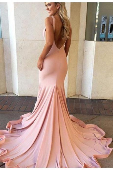 Prom Dress,Sexy Sexy Mermaid V-neck Sleeveless Sweep Train Blush Backless Prom Dress,Evening Dress, Formal Dress, Sexy Gril Dress, Floor-Length Prom Dresses, Evening Dresses, Custom Dress