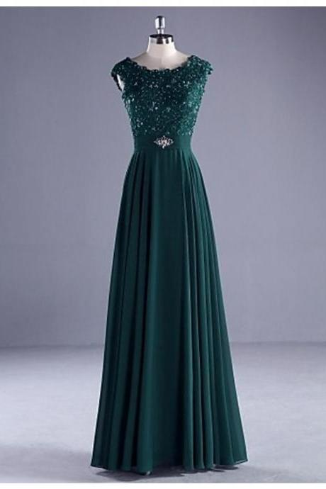 Prom Dress,Sexy Charming Hunter Crew Neck Sleeveless Floor Length Pleats Prom Dress with Beading Lace, Formal Dress, Sexy Gril Dress, Floor-Length Prom Dresses, Evening Dresses, Custom Dress