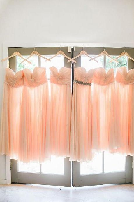 Bridesmaid Dress,Sexy Elegant Sweetheart Long Peach Chiffon Bridesmaid Dress,Formal Dress, Sexy Gril Dress, Floor-Length Prom Dresses, Evening Dresses, Custom Dress