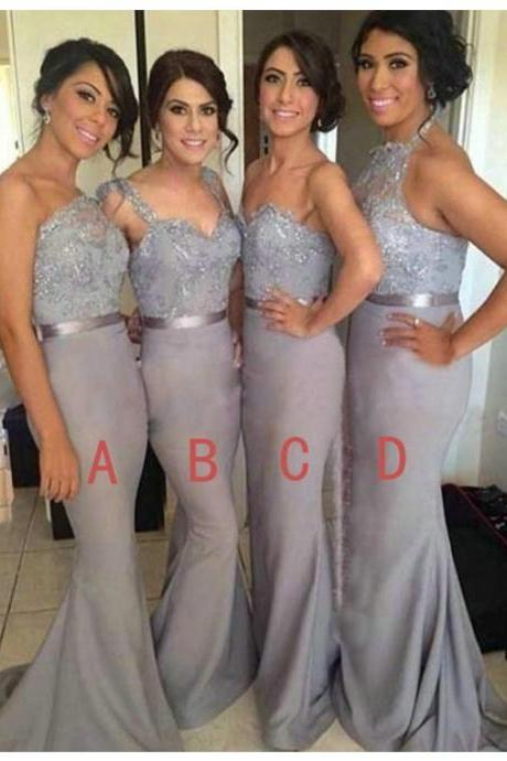 Bridesmaid Dress,Sexy Sexy Mermaid One Shoulder Sweep Train Beading Grey Bridesmaid Dress with Lace, Formal Dress, Sexy Gril Dress, Floor-Length Prom Dresses, Evening Dresses, Custom Dress
