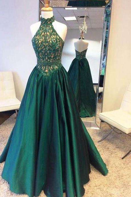 Prom Dress,Sexy Hot Selling Halter Sweep Train Pleats Hunter Backless Prom Dress with Beading, Formal Dress, Sexy Gril Dress, Floor-Length Prom Dresses, Evening Dresses, Custom Dress