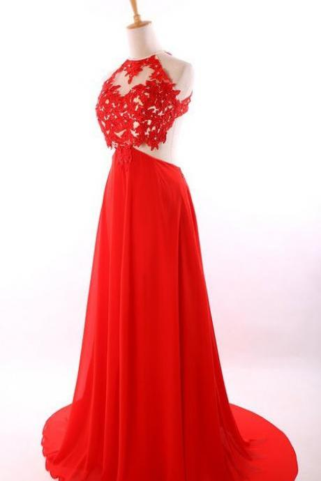 Elegant A-Line Floor Length Chiffon Scoop Backless Red Prom Dress With Appliques,Cheap Prom Dress,Formal Dress, Sexy Gril Dress, Floor-Length Prom Dresses, Evening Dresses, Custom Dress