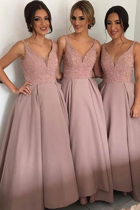 Bridesmaid Dress,Elegant Blush V-Neck Satin Bridesmaid Dresses for Wedding Party,Cheap Prom Dress,Formal Dress, Sexy Gril Dress, Floor-Length Prom Dresses, Evening Dresses, Custom Dress