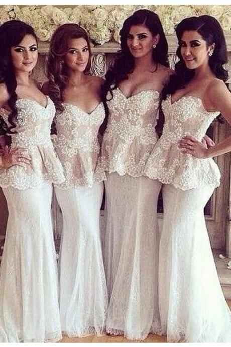 Bridesmaid Dress ,White Sweetheart Sleeveless Sweep Train Mermaid Bridesmaid Prom Dress with Lace,Cheap Prom Dress,Formal Dress, Sexy Gril Dress, Floor-Length Prom Dresses, Evening Dresses, Custom Dress