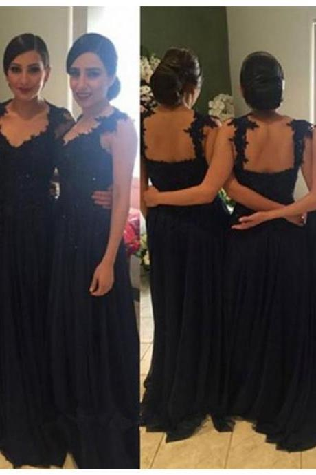 Bridesmaid Dress,Elegant Scoop Sleeveless Floor-Length Black Bridesmaid Dress with Lace ,Cheap Prom Dress,Formal Dress, Sexy Gril Dress, Floor-Length Prom Dresses, Evening Dresses, Custom Dress