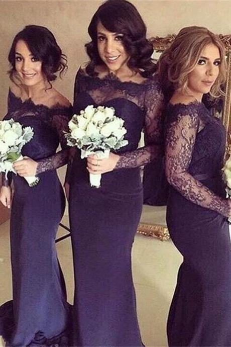 Bridesmaid Dress,Fabulous Off-the-shoulder Long Sleeves Dark Navy Bridesmaid Dresses with Lace ,Cheap Prom Dress,Formal Dress, Sexy Gril Dress, Floor-Length Prom Dresses, Evening Dresses, Custom Dress