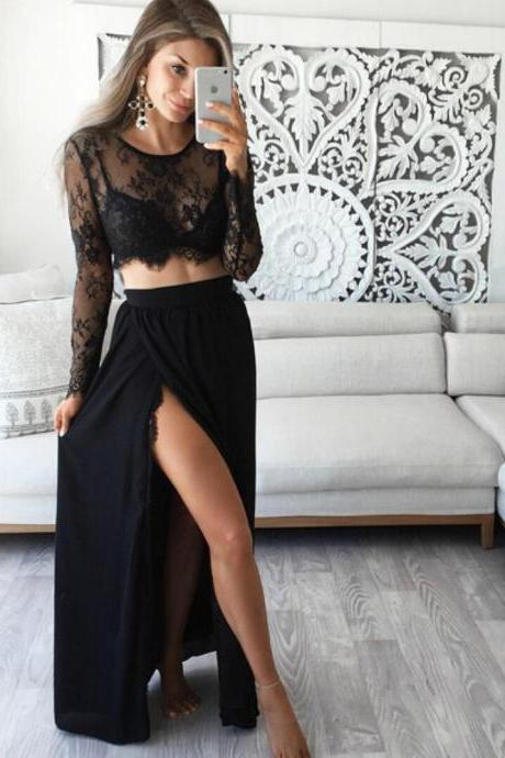Sexy Long Sleeve Lace Black Prom Dress,Cheap Prom Dress,Formal Dress, Sexy Gril Dress, Floor-Length Prom Dresses, Evening Dresses, Custom Dress