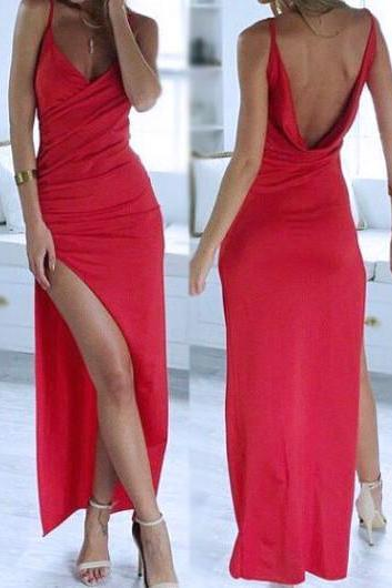 Sexy chiffon Prom Dress With Slit Evening Party Gown ,Cheap Prom Dress,Formal Dress, Sexy Gril Dress, Floor-Length Prom Dresses, Evening Dresses, Custom Dress