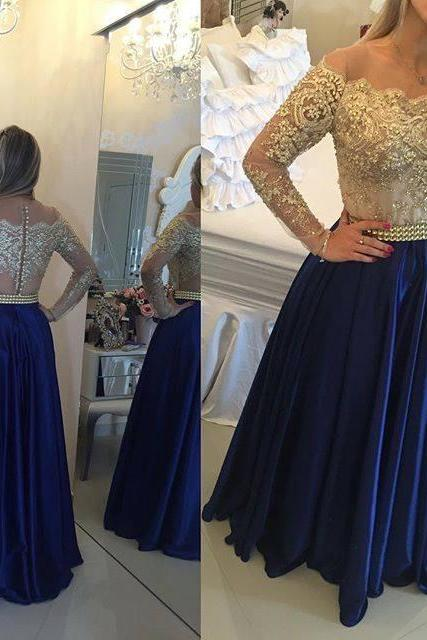 Royal Blue Beaded 2017 Long Prom Dress With Sleeves Cocktail Dress,Cheap Prom Dress,Formal Dress, Sexy Gril Dress, Floor-Length Prom Dresses, Evening Dresses, Custom Dress