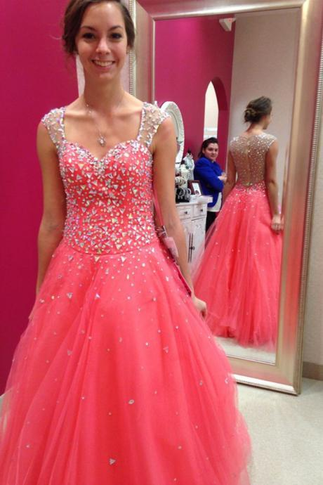 Prom Dress,Sexy Elegant Quinceanera Dresses,Close Back Beading Tulle Prom Dreses,Beautiful Prom Dress For Teens,Red Charming Evening Dresses,Cheap Prom Dress,Formal Dress, Sexy Gril Dress, Floor-Length Prom Dresses, Evening Dresses, Custom Dress