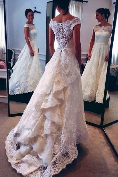 Wedding Dress,Vintage Lace Wedding Dress, Bridal Gown,Wedding Dress for Bride ,Bridal Dress for Women ,Wedding Dress Plus Size ,Wedding Dress Costume ,Cheap Bridal Dress,Formal Dress, Sexy Gril Dress, Floor-Length Prom Dresses, Evening Dresses, Custom Dress