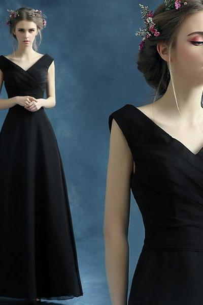 Charming Prom Dress,black Prom Dress,Chiffon prom dress,black Prom Dress,V-neck Prom Dress,sexy prom dress,prom dress,Cheap Prom Dress,Formal Dress, Sexy Gril Dress, Floor-Length Prom Dresses, Evening Dresses, Custom Dress