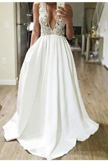 Delicate White Deep V-neck Floor Length Prom Dress with Beading Lace,Cheap Prom Dress,Formal Dress, Sexy Gril Dress, Floor-Length Prom Dresses, Evening Dresses, Custom Dress