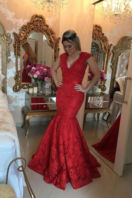 Beaded Embellished Red Lace Plunge V Cap Sleeves Floor Length Mermaid Prom Dress Featuring Open Back, Evening Dress
