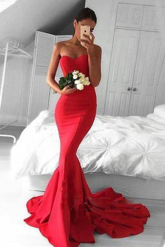 Red Sweetheart Floor Length Mermaid Prom Dress Featuring Sweep Train, Formal Dress