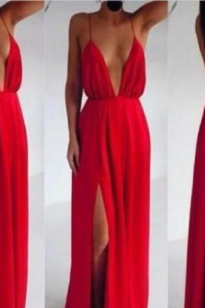 Red Chiffon Plunge V Spaghetti Straps Floor Length A-Line Formal Dress Featuring Open Back and Slit, Prom Dress