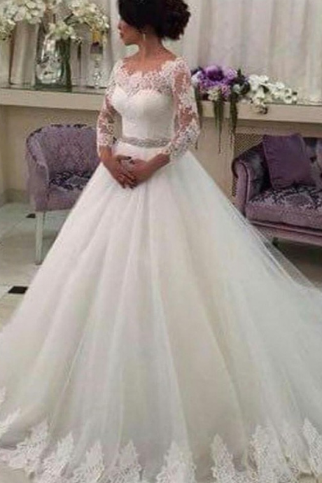 Wedding Dress,Customized Wedding Dresses,Tulle Bridal Dresses, Three Quarter Lace Vestido de Noiva Elegant Casamento Robe De Mariage Beaded Sash Formal Evening Dress,Formal Gown