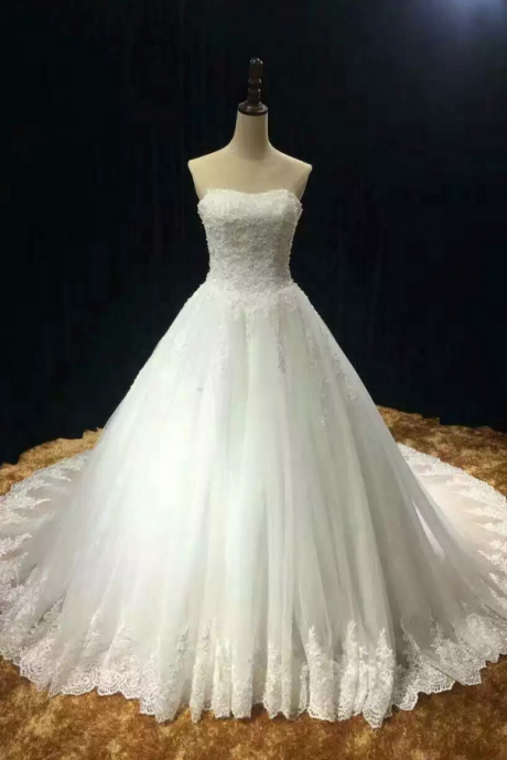Wedding Dress,Customized Wedding Dresses,Tulle Bridal Dresses, Chapel train soft tulle lace appliques strapless wedding dress real photo vestido noiva prince with pearls free custom-made