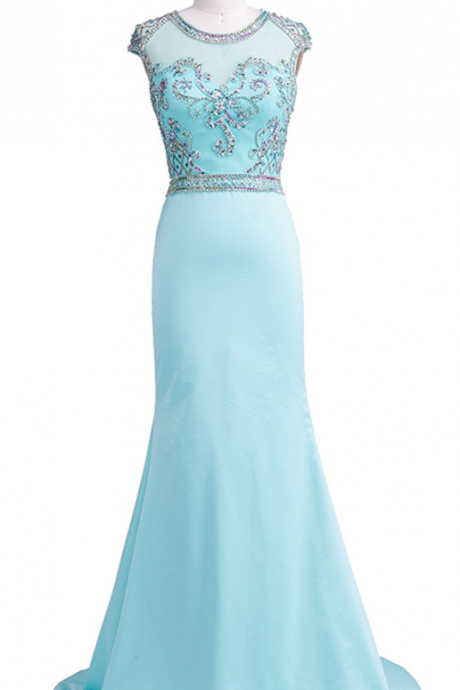 Women's Cap Sleeve Beaded Collar Backless Trailing Prom Dresses ,Charming Prom Dress