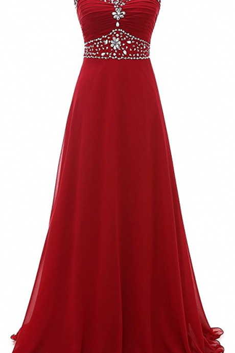Women's Crtstal Chiffon Long Evening Prom Dresses,Charming Prom Dress,Sleeveless Formal Evening Dress,Formal Gown