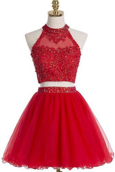 Short Graduation Dress,Two Pieces Graduation Dresses,Red Homecoming Dress, High Neck Homecoming Dress,Graduation Dress , Homecoming Dress ,Prom Dress for Teens