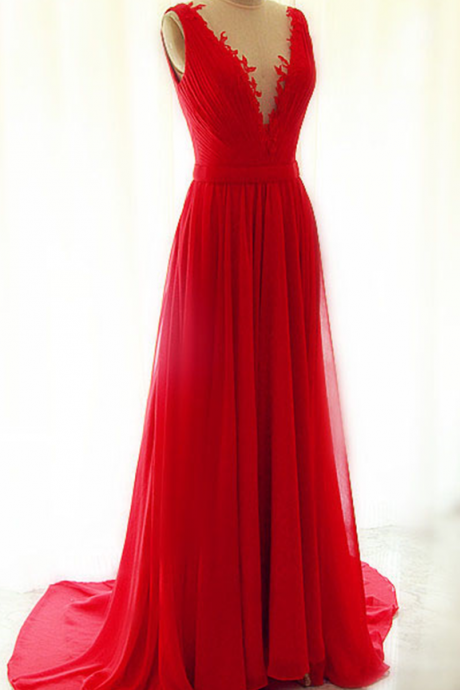 Beautiful Red Chiffon Long V-neckline Handmade Evening Gowns with See Through Tulle, Red Party Dresses, Prom Gowns, Graduation Dresses, Party Dress,Wedding Guest Prom Gowns, Formal Occasion Dresses,Formal Dress