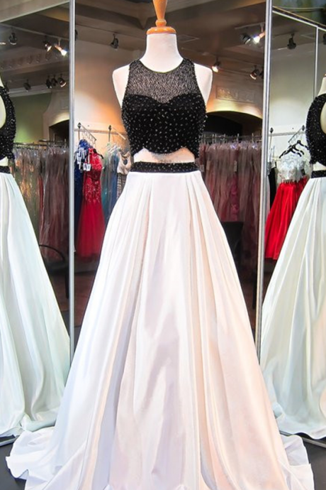 Graduation Dress,Two Piece Black White Prom Dress,A-Line Prom Dresses,High Quality Graduation Dresses,Wedding Guest Prom Gowns, Formal Occasion Dresses,Formal Dress