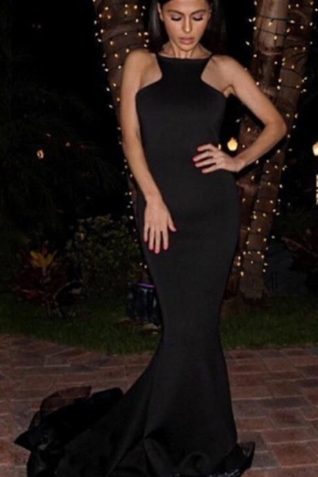 Prom Dress,Sexy Backless Mermaid Black Prom Dresses ,Sleeveless Satin Evening Party Gowns,High Quality Graduation Dresses,Wedding Guest Prom Gowns, Formal Occasion Dresses,Formal Dress