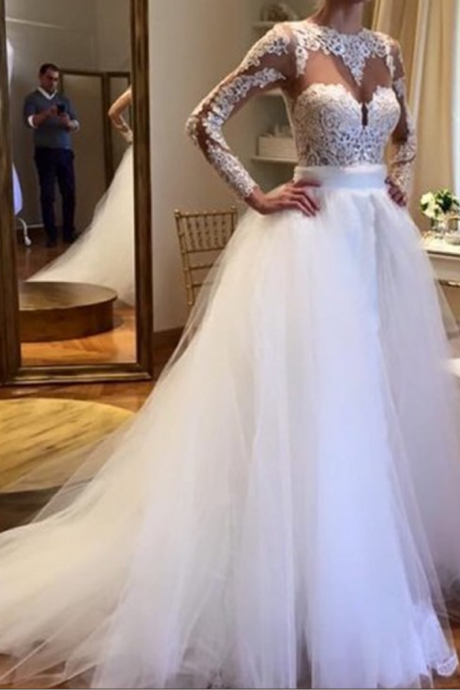 Wedding Dress,Tulle Bridal Dresses Crew Neck Sheer Long Sleeve Lace Accents Bridal Gowns Wedding Gowns,Graduation Dresses,Wedding Guest Prom Gowns, Formal Occasion Dresses,Formal Dress