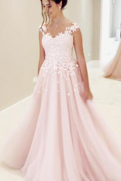 Elegant Wedding Dresses, Cap Sleeves Wedding Dresses,Lace Appliques Wedding Dress,Sheer Neck Prom Gowns,Long Bridal Dresses,High Quality Bridal Dress,Wedding Guest Prom Gowns, Formal Occasion Dresses,Formal Dress