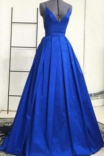 Prom Dress,Deep V Neckline Prom Gowns,Long Prom Dresses,Royal Blue Prom Dress,Backless Prom Dress,Taffeta Puffy Prom Dresses,2017