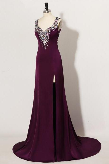 Sexy A Line Prom Dress,Vestido Longo De Formatura Sexy Backless Crop Top Rhinestone Long Purple Prom Dresses Fast Shipping Real Pictures Customize