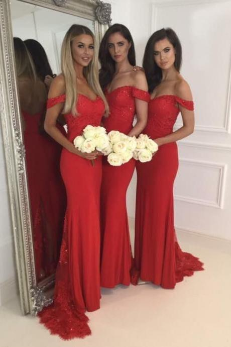 Bridesmaid Dress,Red Jersey Lace Off The Shoulder Sweetheart Cap Sleeves Mermaid Sweep Train Bridesmaid Dresses, Red Prom Dresses