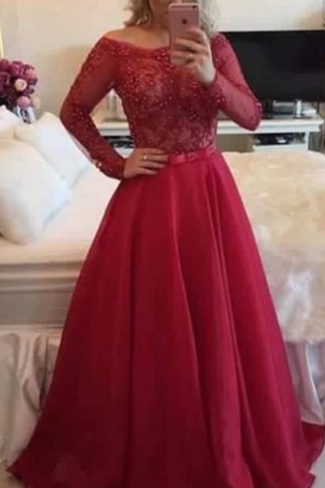 Prom Dress,New Arrival Prom Dress,Pretty red A-line lace long sleeve prom dress,formal gown