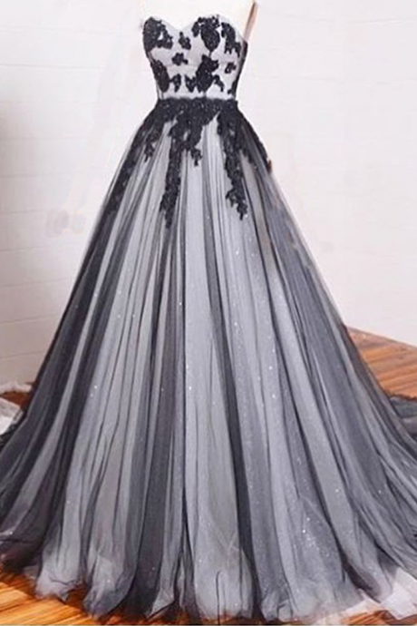 Arrival Prom Dress,lace prom dresses,A-line black+white tulle lace chiffon long evening dress, formal dresses,grad dresses,woman dresses