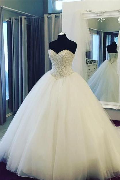 Wedding Dress, Wedding Gown,Fully Crystal Beaded Wedding Dress,Sweetheart Ball Gowns Bridal Dress