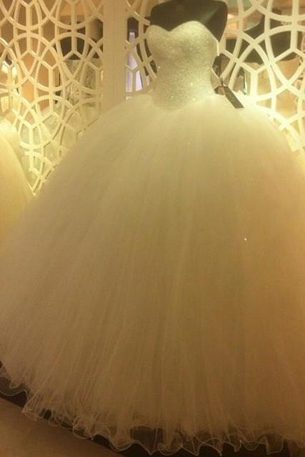 New Arrival Wedding Dress,Modest Wedding Dress,Sparkly Sequins Beaded Sweetheart White Organza Ball Gowns Wedding Dresses