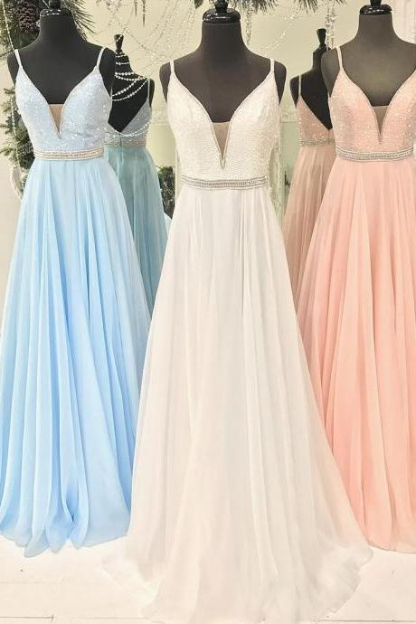 red pink blue v neck long chiffon prom dresses with sequins new arrival