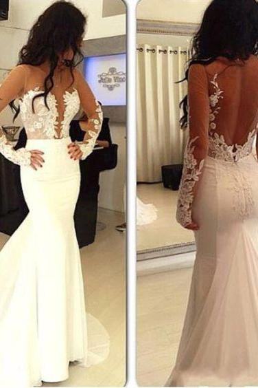 Wedding Dress,Hot Selling Wedding Dresses,Sexy Wedding Dresses,White Prom Dresses,Lace Long Sleeve Bridal Dress,Gowns,Backless Prom Dresses,Long Prom Dresses
